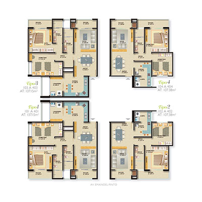 Plantas apartamentos tipo - Fachada Edifício Alamedas do Sol